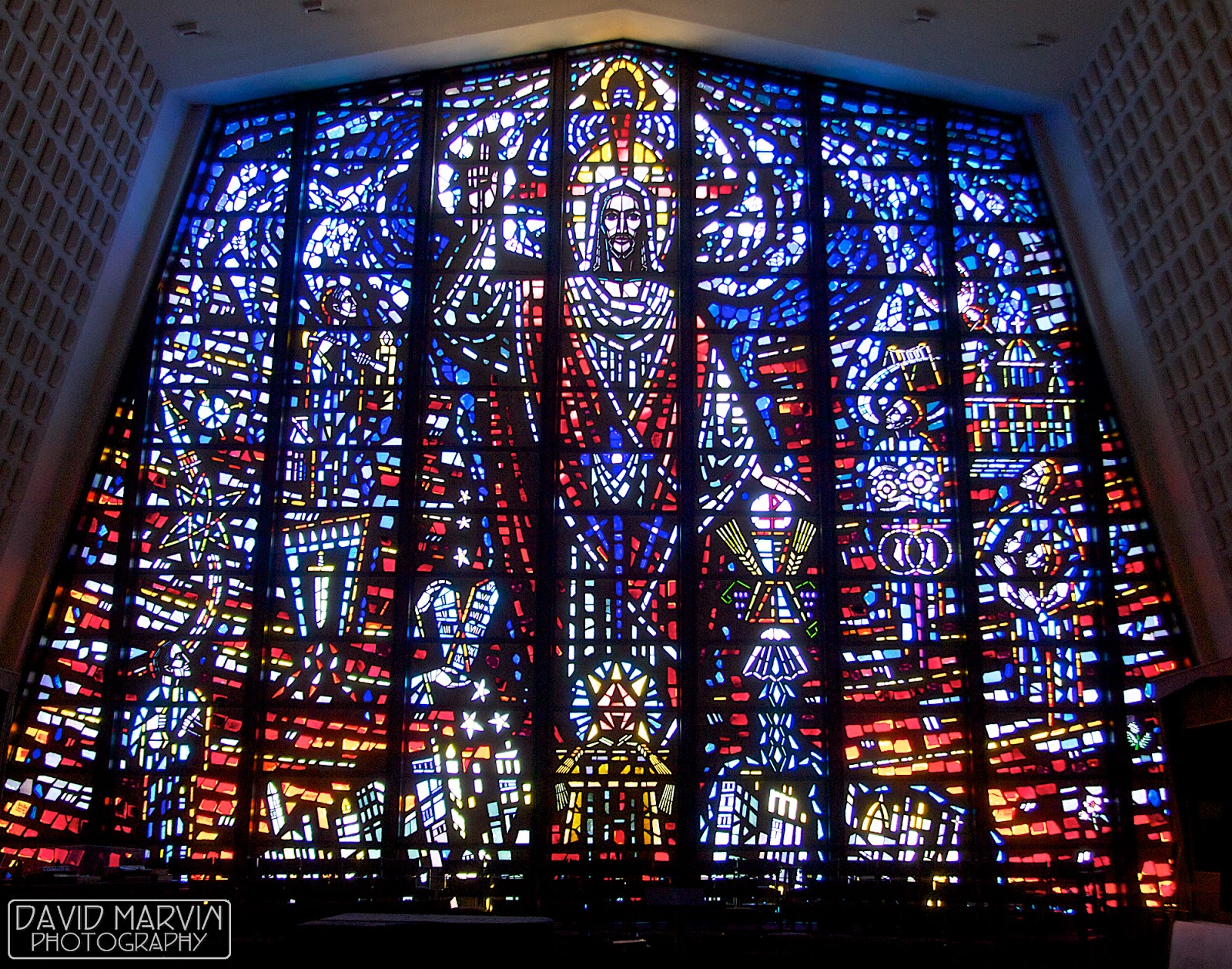 This Massive Stained Glass Window Forms The East Wall Sanctuary Of St Thomas Aquinas Catholic Church In Lansing Michigan