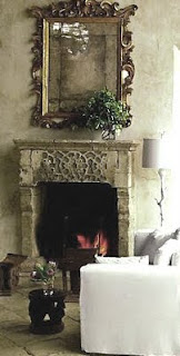 Antique Cypriot Fireplace Surround, Richard Shapiro Residence, Malibu, CA, as seen on linenandlavender.net