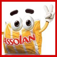 História do Assolino: mascote da esponja de aço da Assolan, apresentado em 2002.