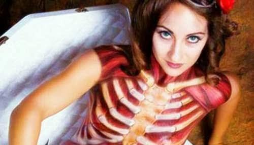 body paint cuerpo por dentro en halloween