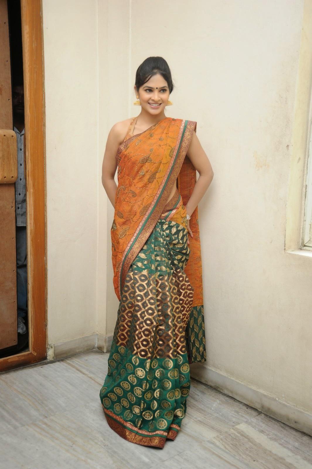 Madhumitha sizzling pics in saree-HQ-Photo-1