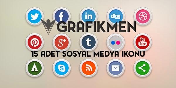 Ücretsiz 15 Adet Sosyal Medya ikonu