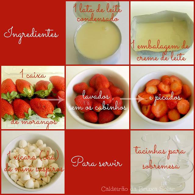 Sobremesa fácil de morangos