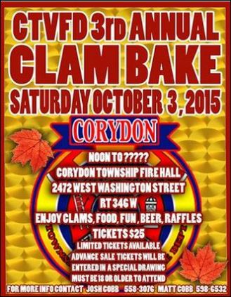 10-3 Corydon Fire Dept. Clam Bake