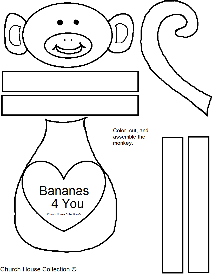 Bananas 4 You Monkey Craft For Valentine's Day for Sunday School ...
