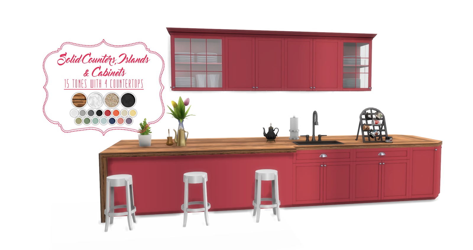 My sims 4 blog updated shaker kitchen by peacemaker ic for Cc kitchen cabinets