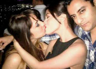 Riya Sen kissing a girl in party photo