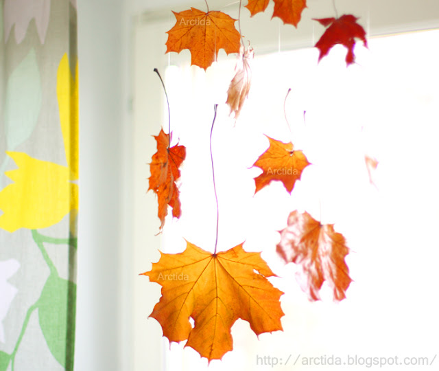 Arctida s creations diy autumn home decor falling leaves for Autumn leaf decoration