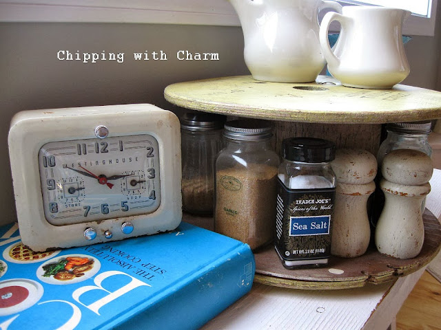 Chipping with Charm:  Getting Organized with Junk, Spool to spinning Spice Rack...http://chippingwithcharm.blogspot.com/