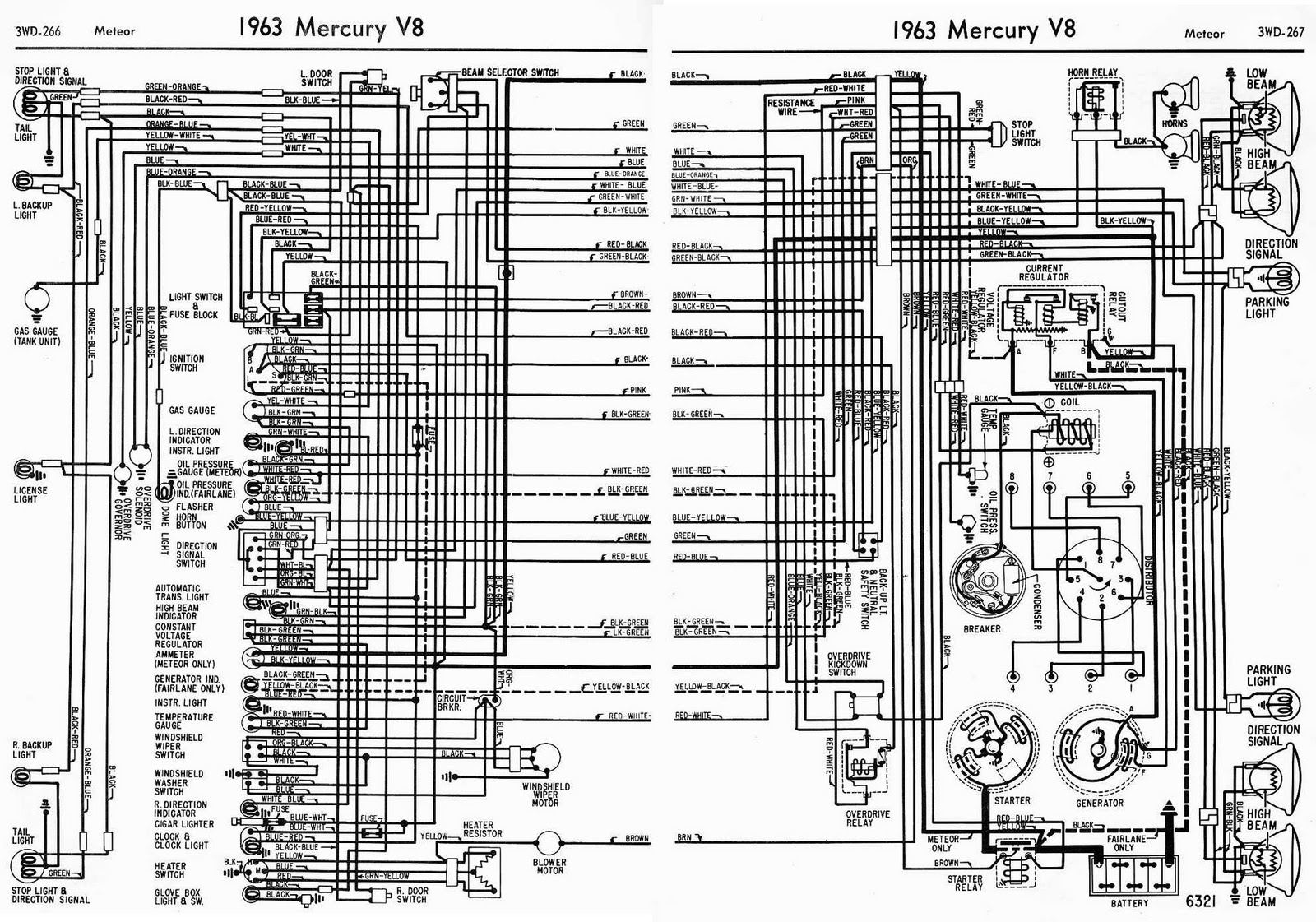 1956 Mercury Montclair Wiring Diagram Schematic Likewise Ford Car On Chevy Library1963 V8 Meteor Complete Diagrams