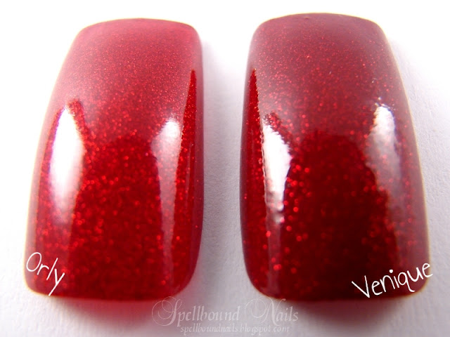 nails nailart nail art polish mani manicure Spellbound Venique Runway Sparkle shimmer glitter red deep dark Christmas holiday collection dupe Orly Star Spangled comparison color swatch top coat