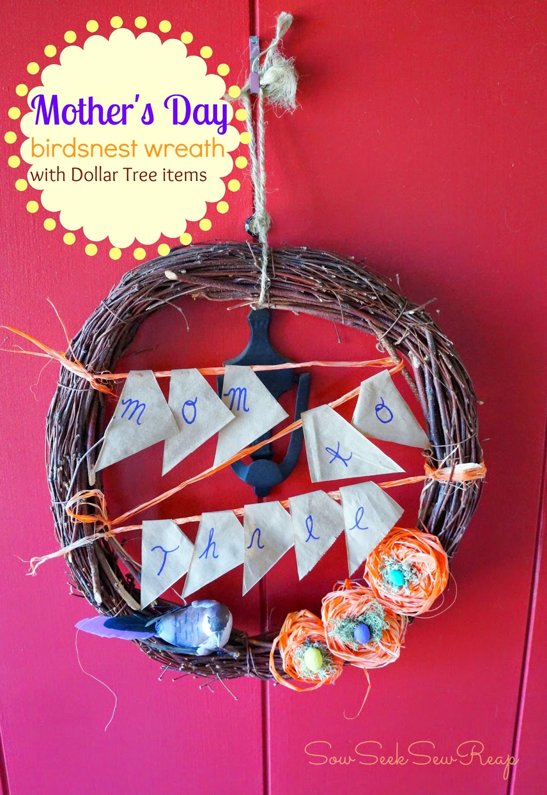 Mother's Day wreath, Dollar tree wreath, birdsnest wreath