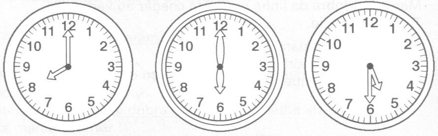 ponteiros está marcando o mesmo horário pinte o e marque um x