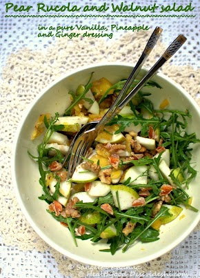 pear rucola and walnuts salad in pineapple vanilla dressing