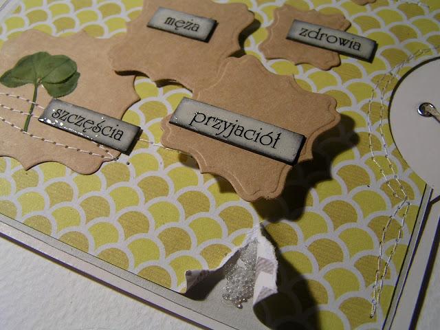 four-leaf clover, handmade card, mikrokulki
