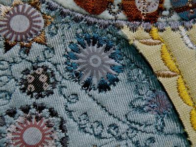 Tree Bird machine embroidery, silk, velvet, rayon thread