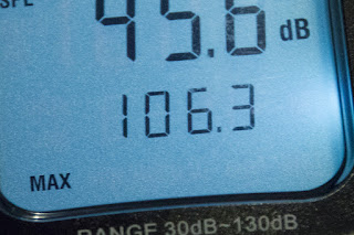 [Image: Display of a sound pressure meter showing 106.3 dB max.]