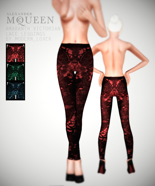 McQueen amaranth victorian lace leggings