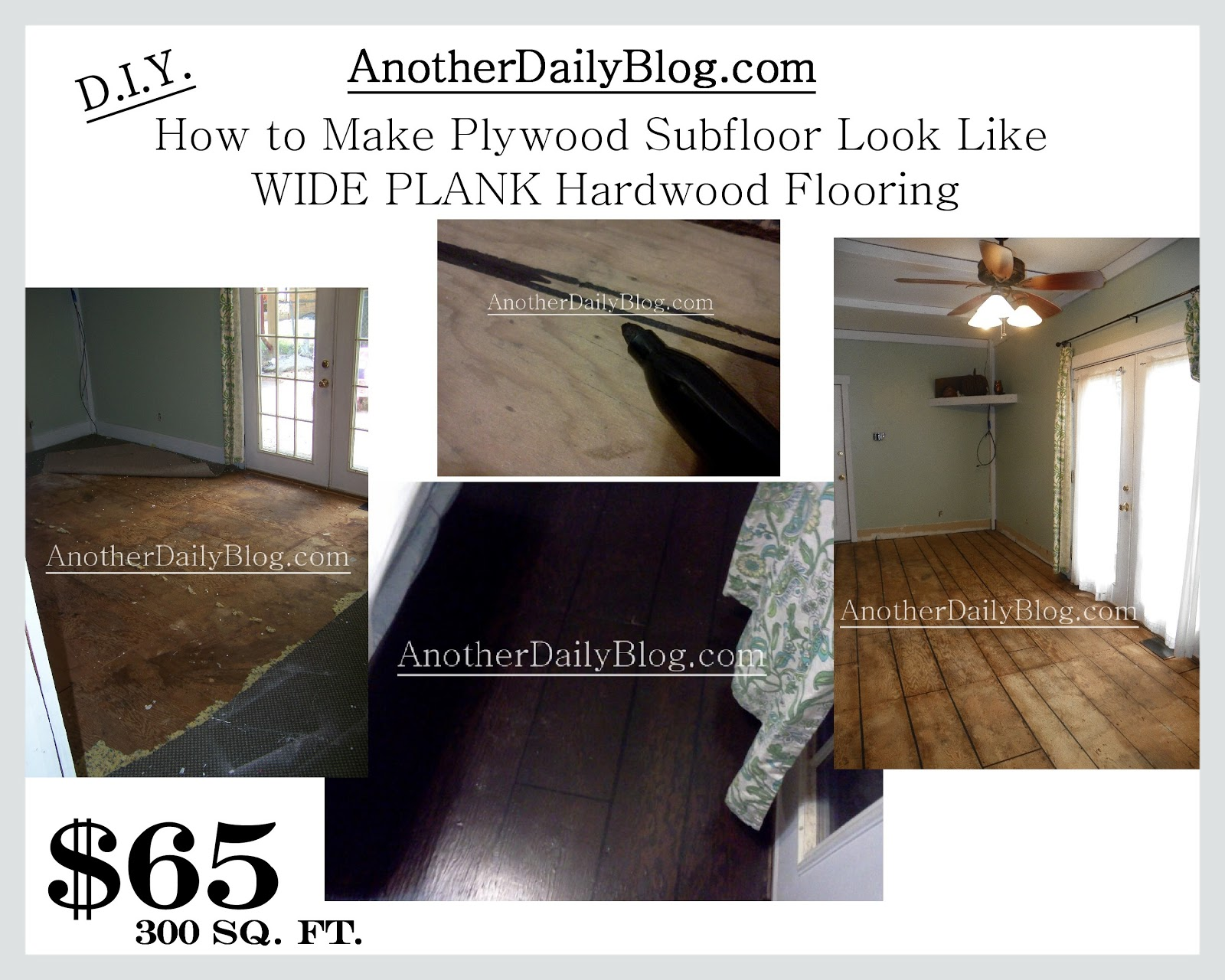 Another Daily Blog DIY How To Make Plywood Subfloor Look Like Wide - Best material for bathroom subfloor