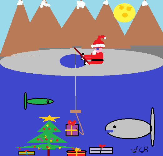 SANTA GOES ICE FISHING