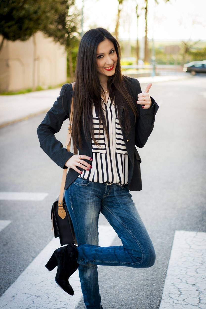 Stripes Blouse Black and White