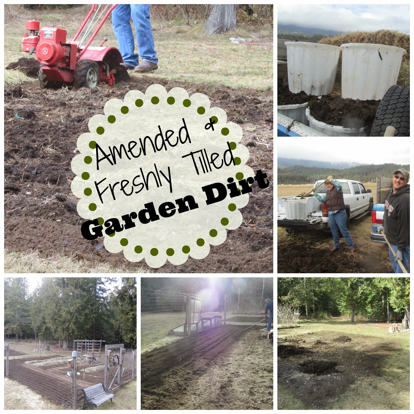 Collage of tilling and amending the garden in North Idaho