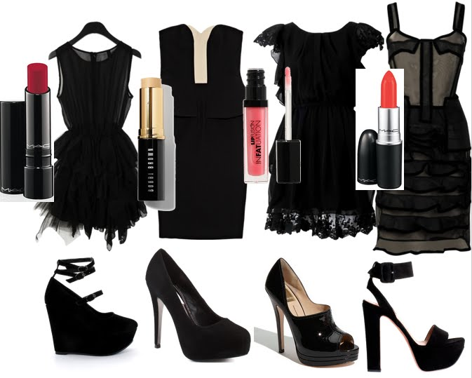 Vestido negro de fiesta y zapatos