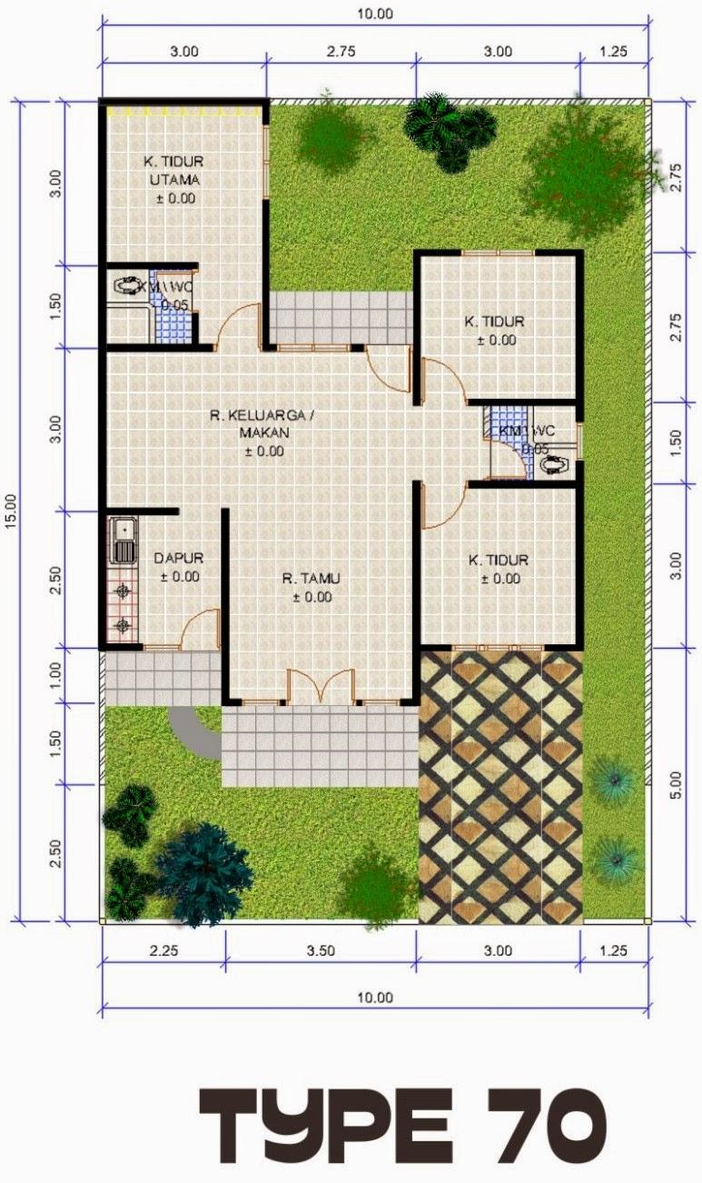 Contoh Denah Rumah Minimalis Type 70 3 kamar tidur