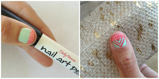 Mommy Testers Sally Hansen  nail art pen to make tribal color blocked nails  #IHeartMyNailArt #cbias