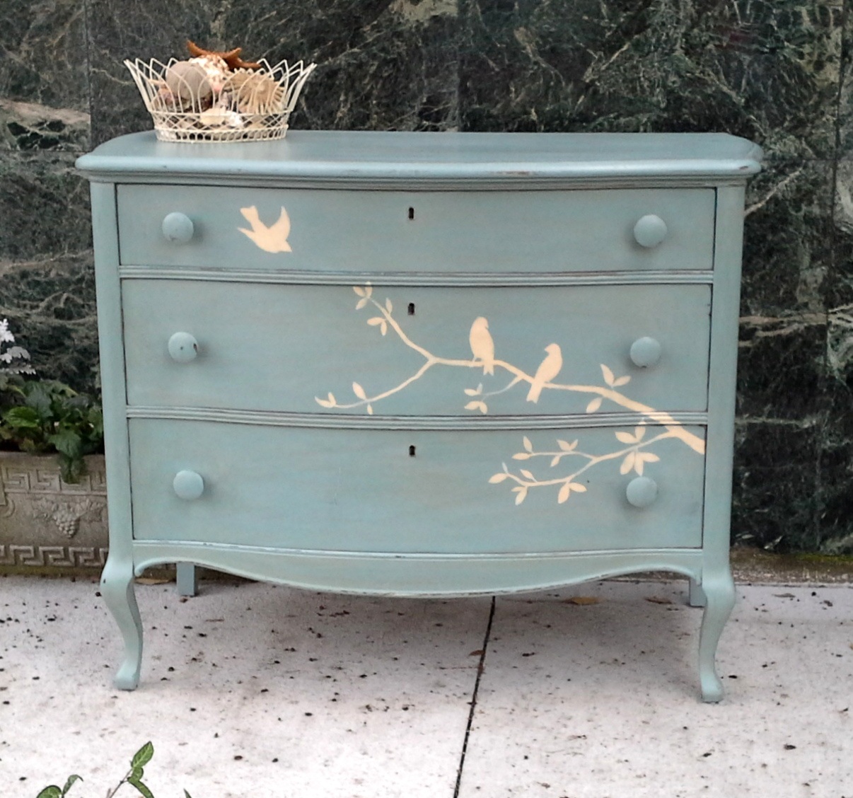 Furnitologist beautiful solid wood hand painted dresser with birds cottage shabby chic inspired Paint wood furniture