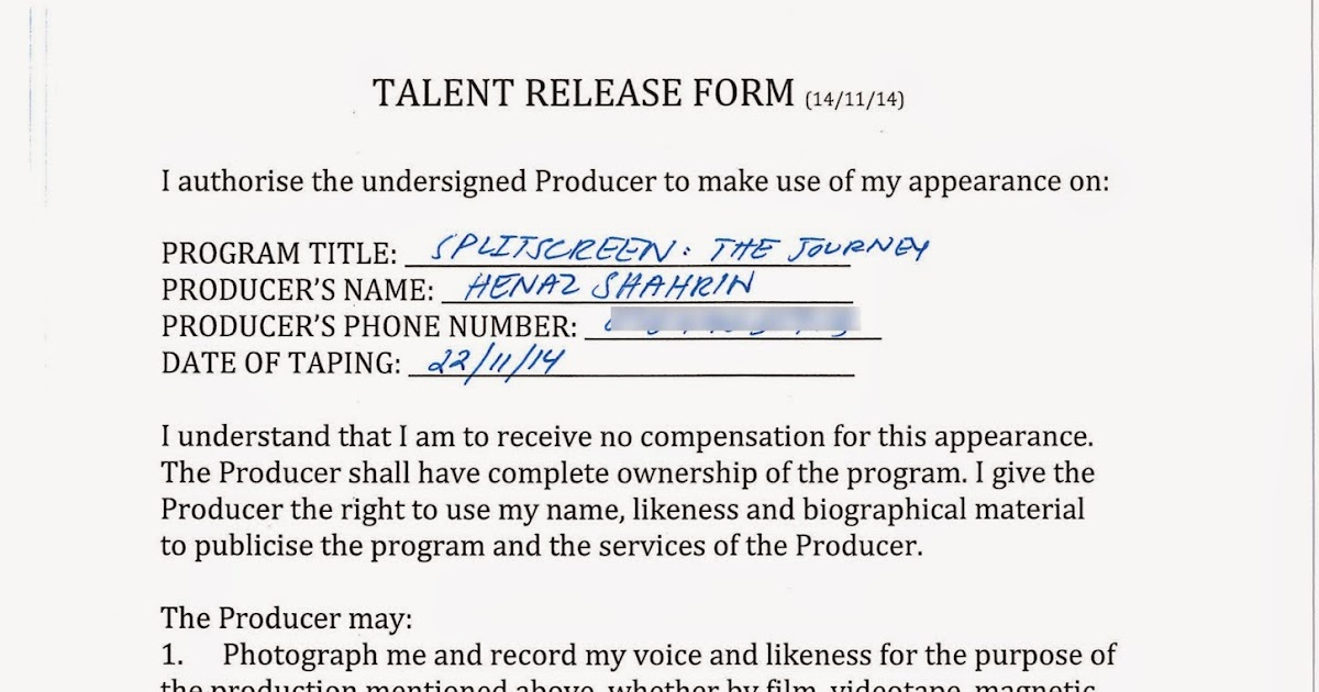 Henaz'S A2 Media Studies Blog: Talent Release Form
