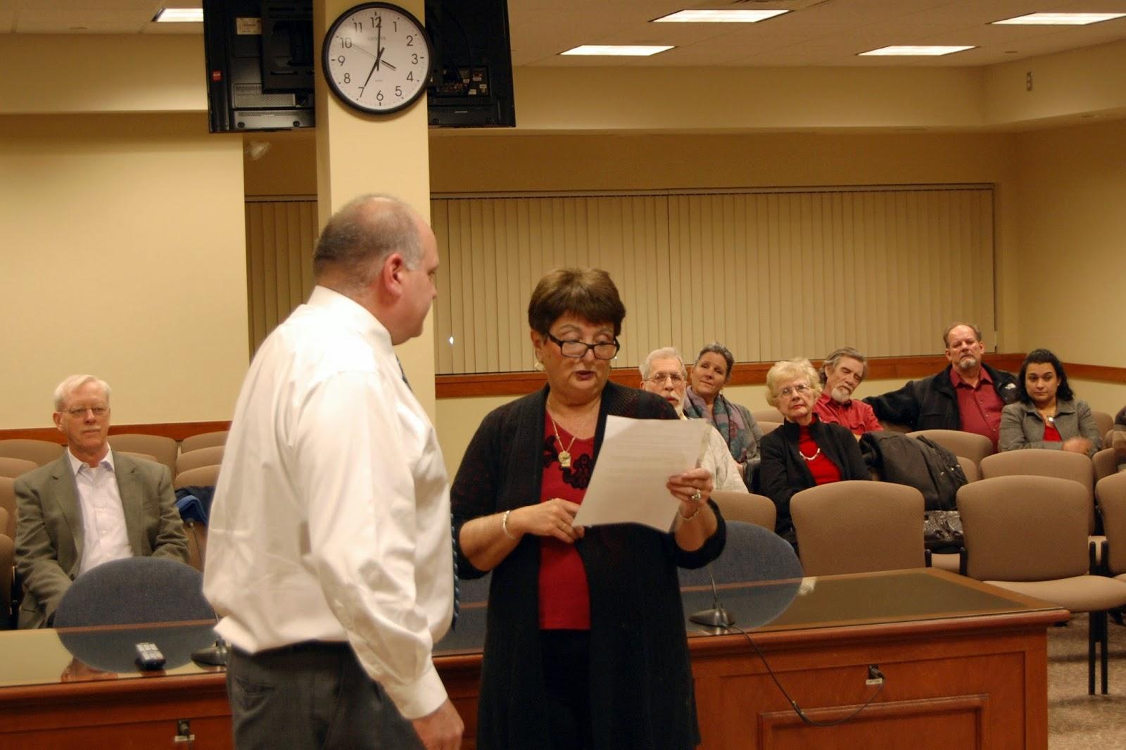 newly elected Town Councilor Robert Dellorco and Town Clerk Deboroah Pellegri