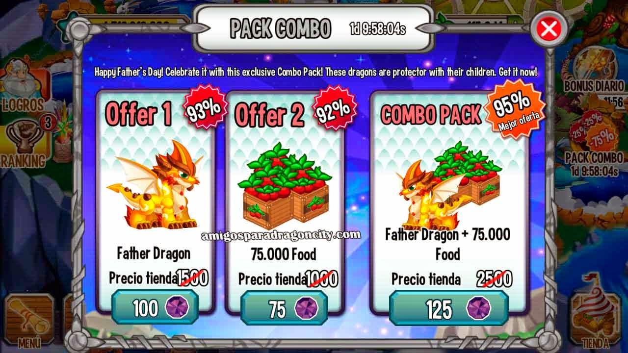imagen de la oferta especial del dragon dia del padre en dragon city ios y android