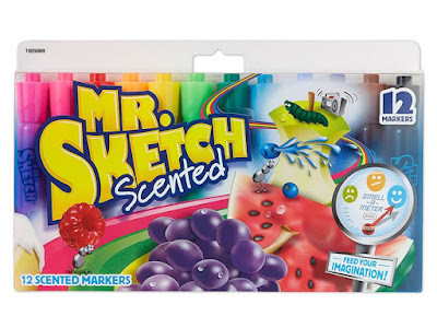 Colors are bright and vivid. Mr. Sketch markers have twice the ink of most markers to last super-long. The smooth-flowing bevel-tip makes sketching easier. The tip is sturdy to keep its shape even after months of coloring. The specially formulated, non-bleeding water-based ink is great for easels. It's safe for children and certified AP non-toxic. Each color has its own fun scent to feed your imagination. See product description for all color/scent combinations. Includes magenta, pink, red, orange, yellow, light green, dark green, turquoise, light blue, blue, light purple, purple, brown, and black. Mr. Sketch color/scent combinations are: Red/Cherry; Orange/Orange; Peach/Peach; Yellow/Lemon; Light Yellow/Banana Split; Mint Green/Tropical Punch; Green/Mint; Dark Green/Apple; Turquoise/Mango; Light Blue/Blue Raspberry Slushy; Blue/Blueberry; Purple/Grape; Lavender/Cotton Candy; Hot Pink/Melon; Magenta/Raspberry; Petal Pink/Bubble Gum; Black/Licorice; Brown/Cinnamon