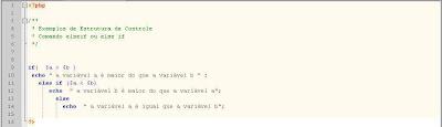 Sintaxe comando elseif / else if em php