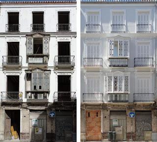 Fachada del edificio Histórico en calle Carretería 43, BIC Conjunto Histórico-Artístico del Centro de Málaga