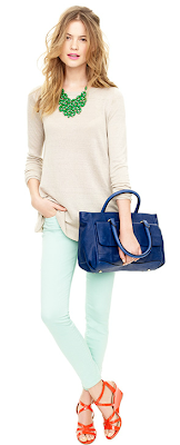 j crew ankle zip toothpick jean pastel color