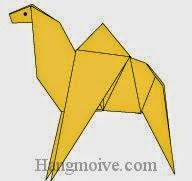 Bước 19: Vẽ mắt để hoàn thành cách xếp con lạc đà bằng giấy.