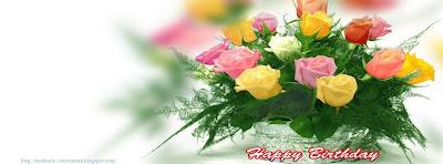 Couverture facebook bouquet joyeux anniversaire