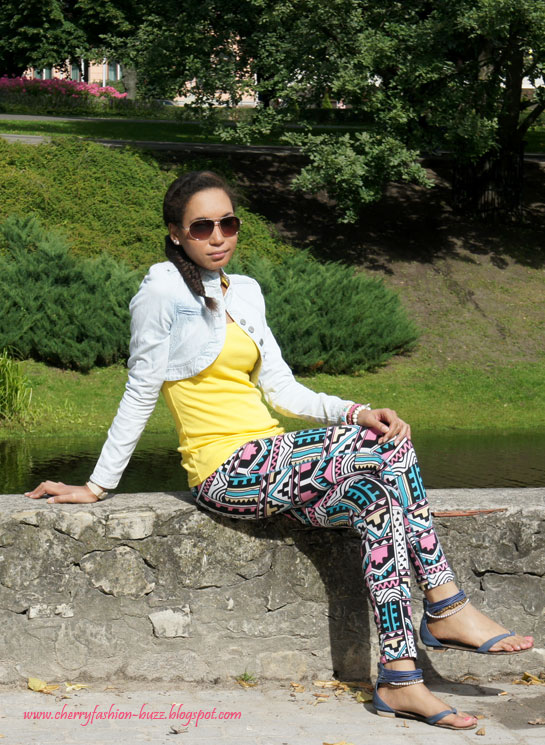 Pastel aztec, Aztec leggings, yellow vest, jeans bolero, blue sandals, aviators