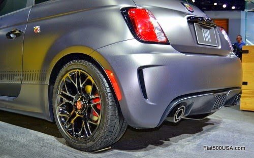 16 inch Hyperblack alloy wheel shown on Abarth Tenebra