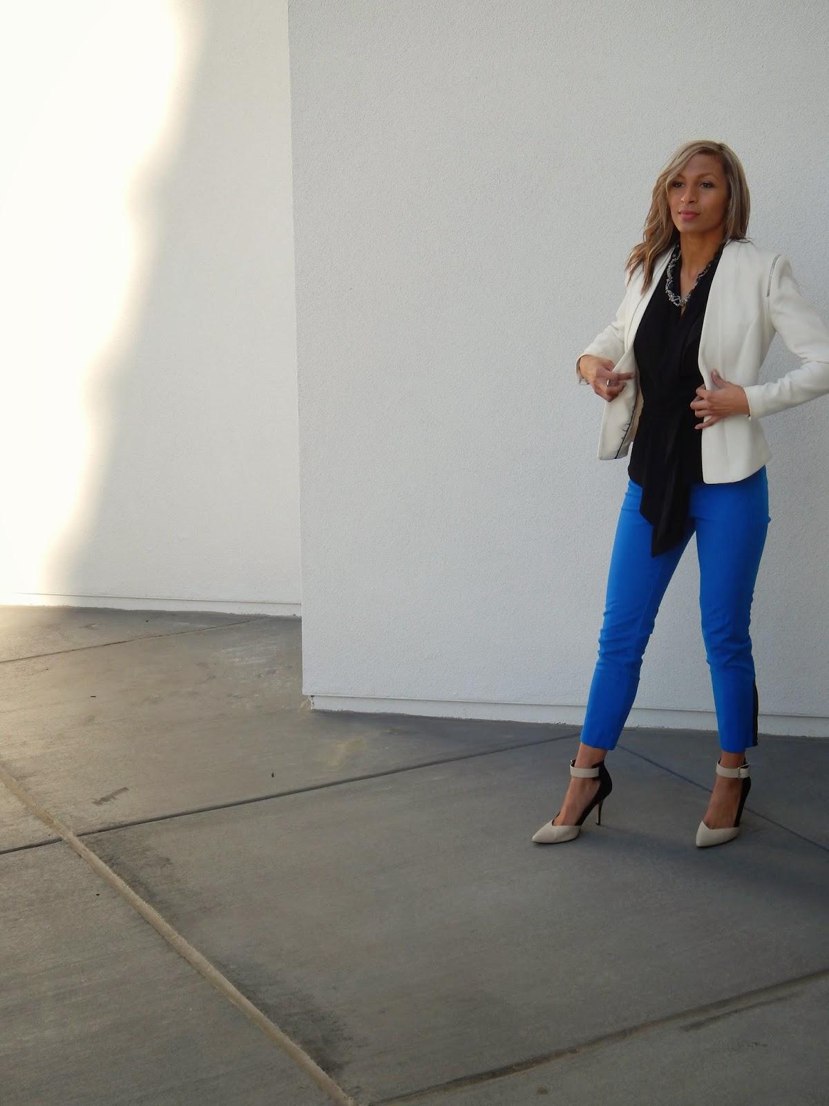 Women's workwear, Power Suit, White Blazer, Summer Blazer, Tuxedo pants, monday, anthropologie pants, white house black market, H&M jacket