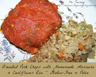 Gluten Free Coconut Flour Breaded Pork Chops Homemade Marinara Cauliflower Rice Paleo