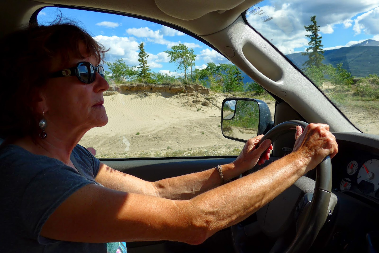 Liz driving towards Carcross