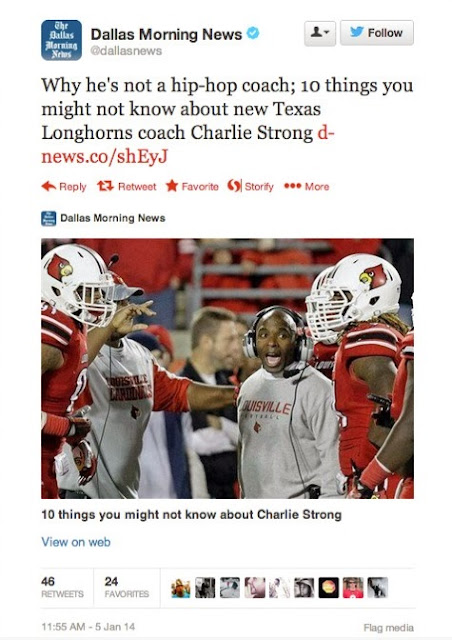 Dallas Morning News uses Lou Holtz quote about Charlie Strong not being a hip-hop coach.