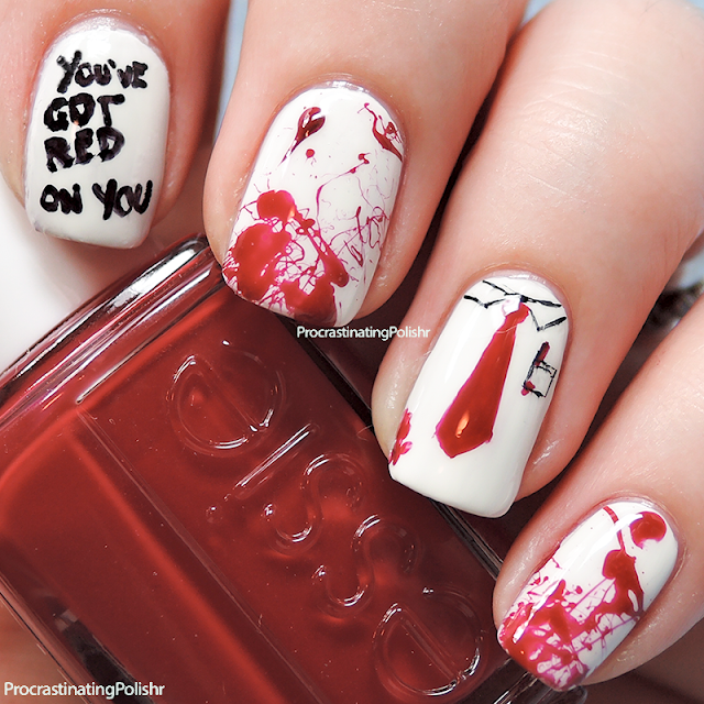 Best Nail Art of 2015 - Shaun of the Dead You've Got Red On You