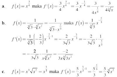pembahasan soal turunan fungsi f(x) = axn dengan n Bilangan Rasional