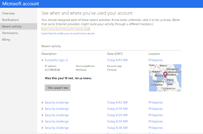 View Recent Activity for your Microsoft Account