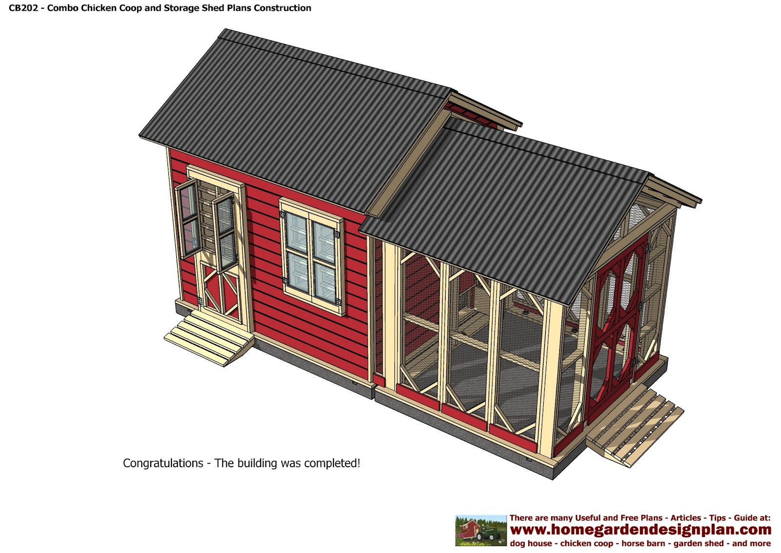 Home garden plans cb202 combo plans chicken coop for Storage shed playhouse combo plans