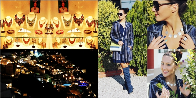Oia at night, Santorini. Outfit of the week. Plaid trench coat. How to wear trench coat.